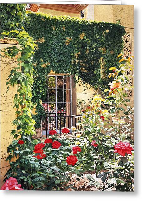Rose Bushes Greeting Cards - Afternoon In The Rose Garden Greeting Card by David Lloyd Glover
