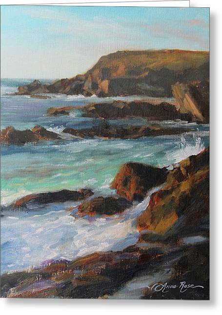 Cliffs Paintings Greeting Cards - Afternoon Light Point Lobos Greeting Card by Anna Bain