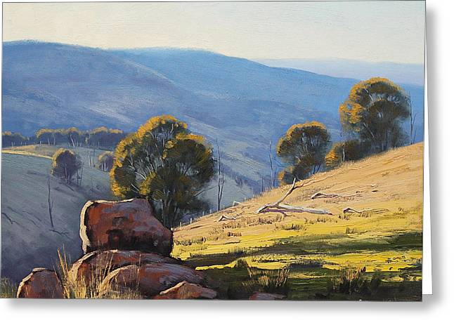 Beautiful Creek Paintings Greeting Cards - Afternoon Light Turon Hills Greeting Card by Graham Gercken