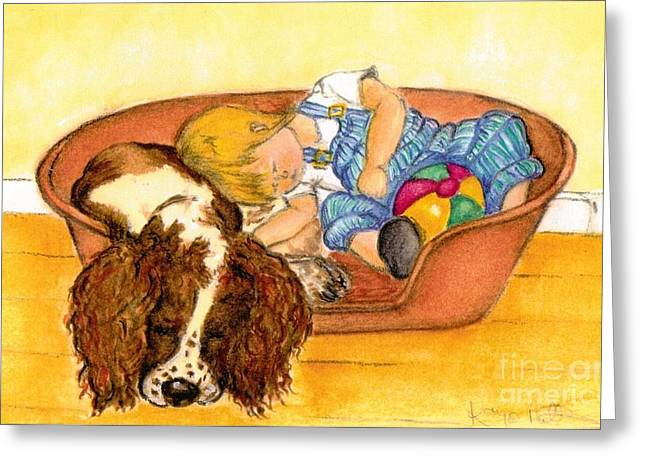 Dungarees Greeting Cards - Afternoon nap Greeting Card by Kaye Miller-Dewing