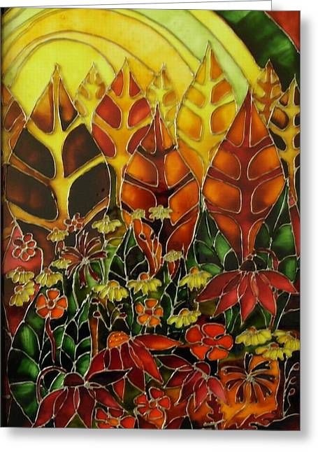 Sunset Glass Art Greeting Cards - Afternoon on the porch 2 Greeting Card by Cornelia Tersanszki