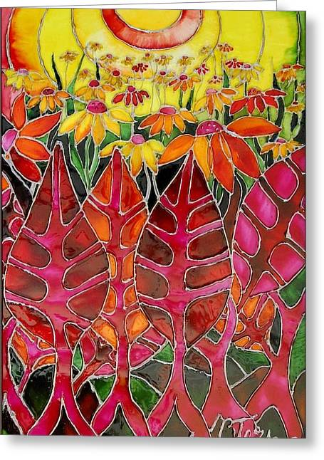 Sunset Glass Art Greeting Cards - Afternoon on the porch Greeting Card by Cornelia Tersanszki