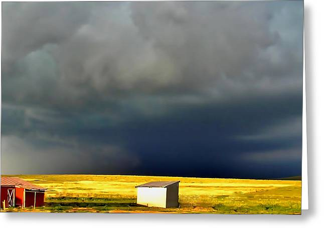 Storm Clouds Digital Art Greeting Cards - Afternoon Storm Greeting Card by Ellen Heaverlo