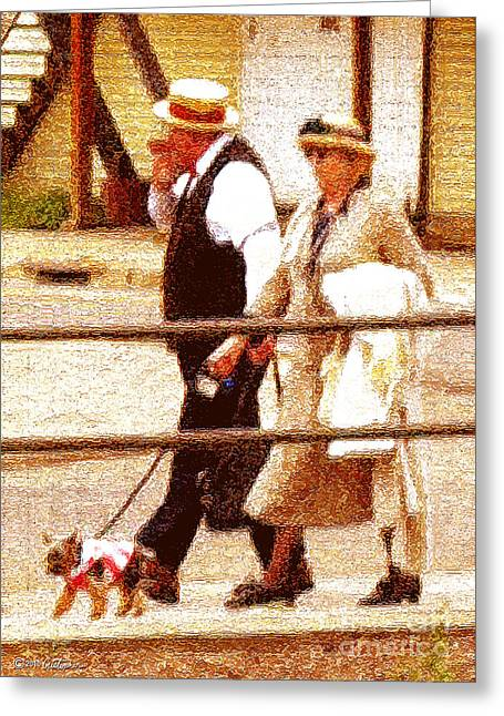 Dog Walking Greeting Cards - Afternoon Stroll Greeting Card by Cristophers Dream Artistry