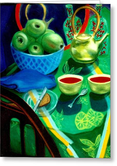 Napkin Pastels Greeting Cards - Afternoon Tea Greeting Card by Eliezer Sobel