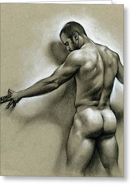 Naked Men Greeting Cards - Against the wall Greeting Card by Chris  Lopez
