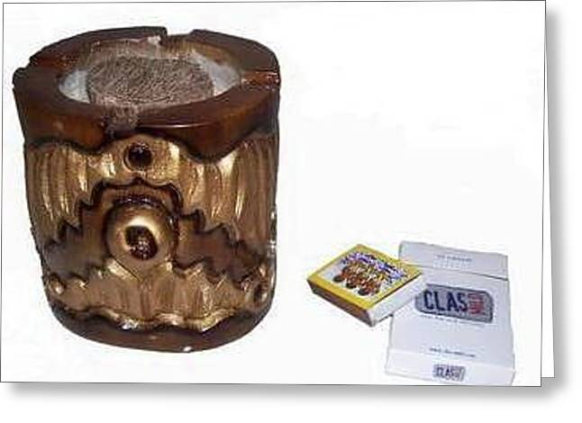 Therapy Sculptures Greeting Cards - Agar wood Ashtray Greeting Card by Joedhi