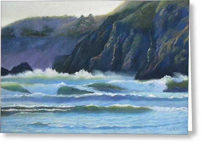 Oregon Pastels Greeting Cards - Agate Beach Surf Greeting Card by Boyd Miller