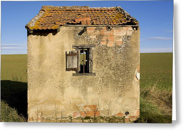 Aged hut in Auvergne. France Greeting Card by BERNARD JAUBERT