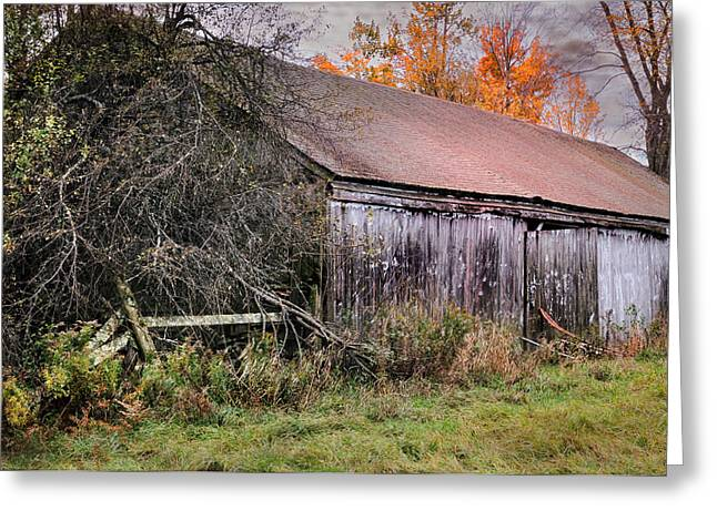 New England Village Scene Greeting Cards - Aged Just Right - Jaffrey New Hampshire Barn  Greeting Card by Thomas Schoeller