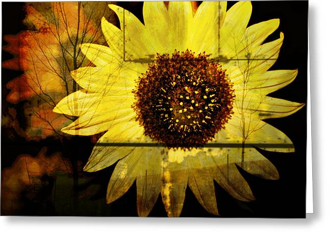 Floral Digital Art Digital Art Greeting Cards - Aged Sunflower Greeting Card by Cathie Tyler