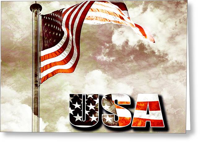 4 Stones Greeting Cards - Aged USA flag on pole Greeting Card by Phill Petrovic