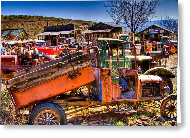 Old Relics Greeting Cards - Aging Dump Truck Greeting Card by Jon Berghoff