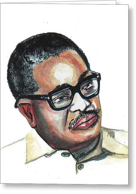 Liberation Drawings Greeting Cards - Agostinho Neto Greeting Card by Emmanuel Baliyanga