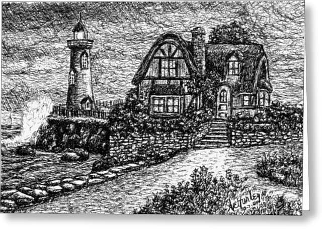 Pen And Ink Drawing Pastels Greeting Cards - AH-001-012 Cottage Lighthouse - Ave Hurley Greeting Card by Ave Hurley