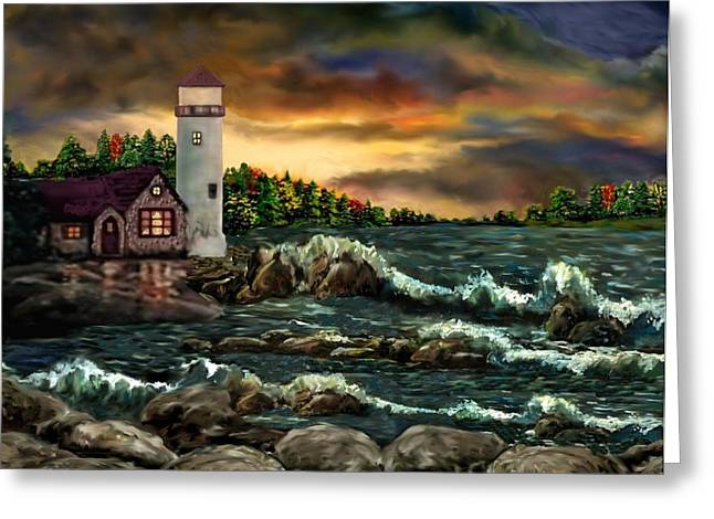 Digital Fine Art Pastels Greeting Cards - AH-001-015 Davids Point Lighthouse  - Ave Hurley Greeting Card by Ave Hurley