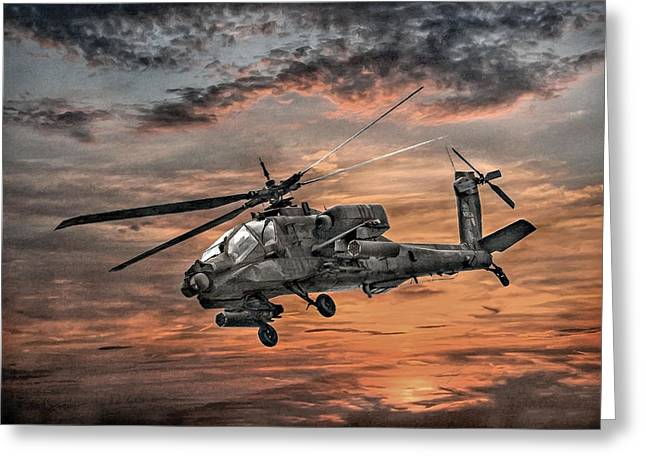 Air War Greeting Cards - AH-64 Apache Attack Helicopter Greeting Card by Randy Steele