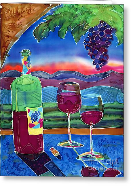 Vineyard Landscape Mixed Media Greeting Cards - Ah Western Wines Greeting Card by Jill Targer
