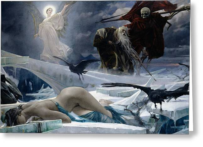Winter Crows Greeting Cards - Ahasuerus at the End of the World Greeting Card by Adolph Hiremy Hirschl