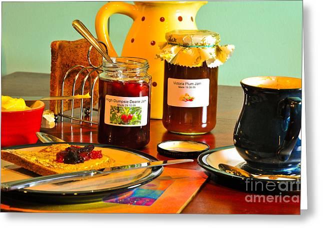Toast Greeting Cards - Ahhhhh Breakfast Greeting Card by Donald Davis