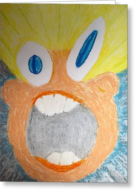 Smear Drawings Greeting Cards - Ahhhhhhhh Greeting Card by Jack Norton