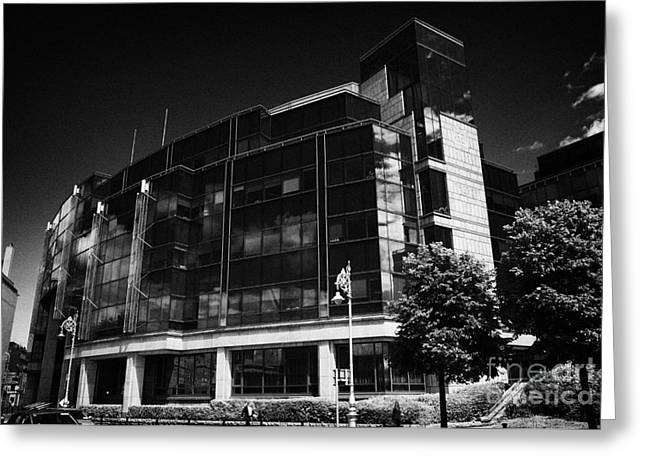 International Crisis Greeting Cards - AIB Allied Irish Bank International centre headquarters of AIB Capital Markets in the IFSC dublin Greeting Card by Joe Fox