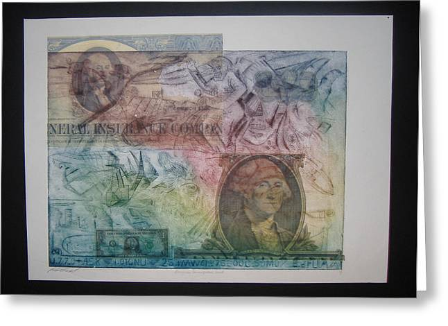 Aig The Dollar And George Compared Greeting Card by John  Schwind