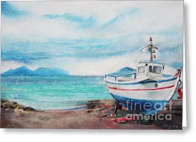 Seen Pastels Greeting Cards - Aigina Island Greeting Card by Radchenko Julia