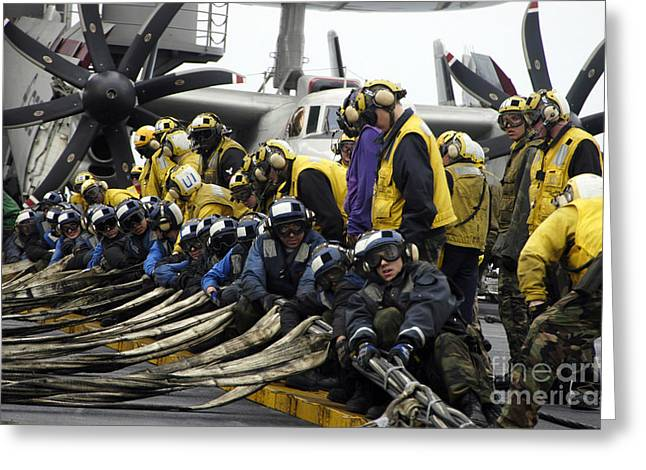Yanks Greeting Cards - Ailors Practice An Emergency Barricade Greeting Card by Stocktrek Images