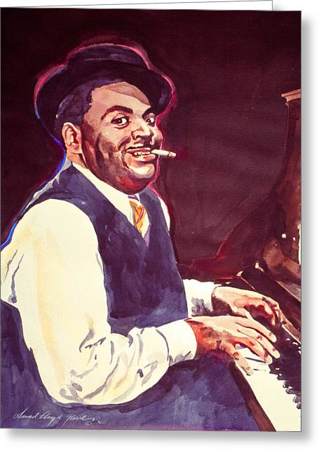 Jazz Player Greeting Cards - Aint Misbehavin Fats Waller Greeting Card by David Lloyd Glover