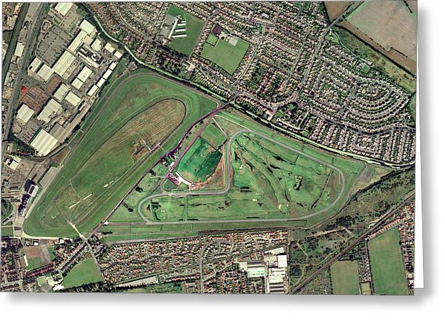 Steeplechase Race Greeting Cards - Aintree Horse Racing Track, Aerial Image Greeting Card by Getmapping Plc
