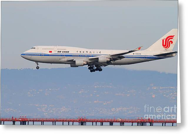 Landing Airplane Greeting Cards - Air China Airlines Jet Airplane At San Francisco International Airport SFO . 7D12272 Greeting Card by Wingsdomain Art and Photography