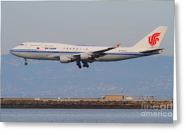 Airplane Landing Greeting Cards - Air China Airlines Jet Airplane At San Francisco International Airport SFO . 7D12273 Greeting Card by Wingsdomain Art and Photography