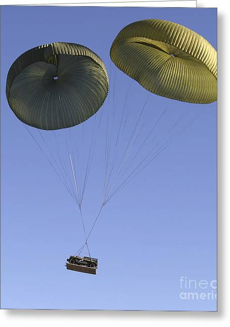 Hmmwv Greeting Cards - Air Delivery Platoon Drops Heavy Greeting Card by Stocktrek Images