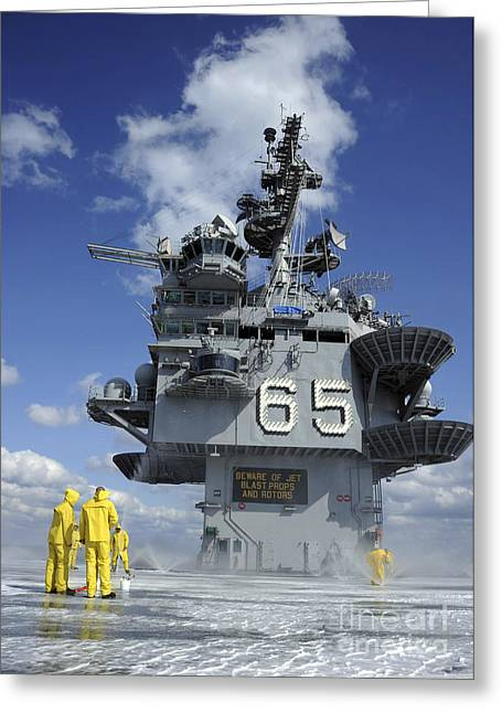Flight Deck Greeting Cards - Air Department Sailors Test Greeting Card by Stocktrek Images