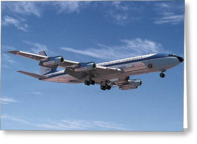 Air Force One Greeting Cards - Air Force One Boeing VC-137C 72-7000 Phoeniz Arizona May 10 1974 Greeting Card by Brian Lockett