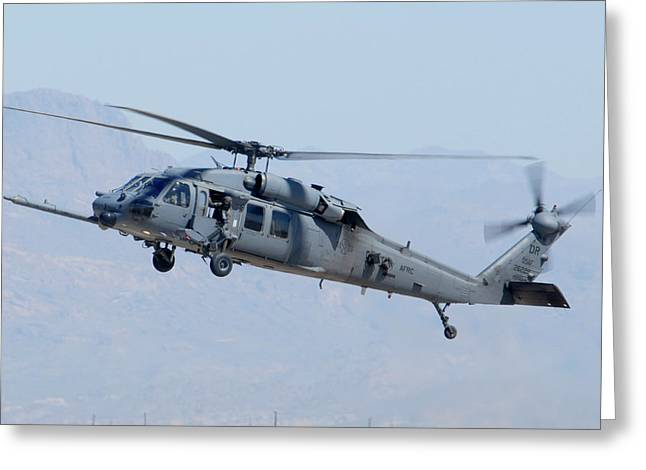 Sikorsky Photographs Greeting Cards - Air Force Sikorsky HH-60G Blackhawk 90-26228 Mesa Gateway Airport March 11 2011 Greeting Card by Brian Lockett