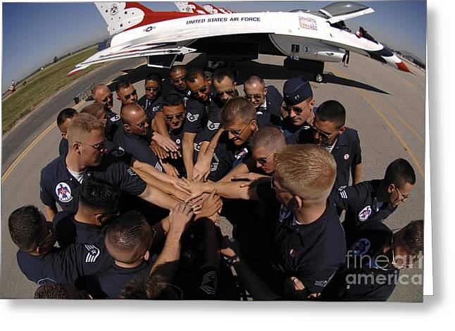 Airfield Greeting Cards - Air Force Thunderbird Maintainers Bring Greeting Card by Stocktrek Images