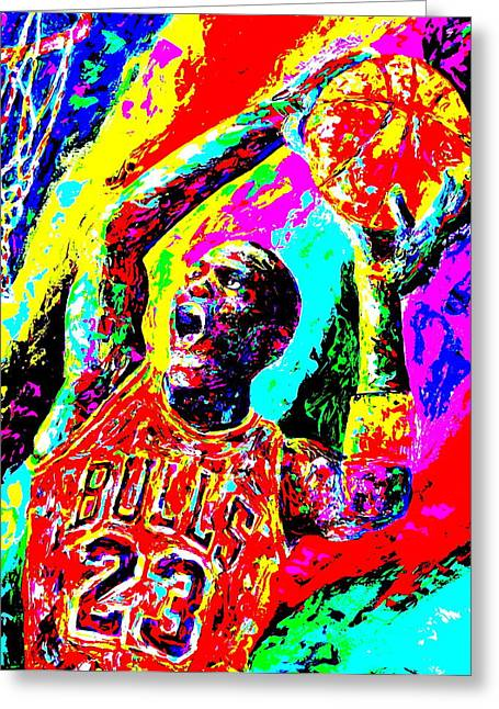 Dunking Paintings Greeting Cards - Air Jordan Greeting Card by Mike OBrien