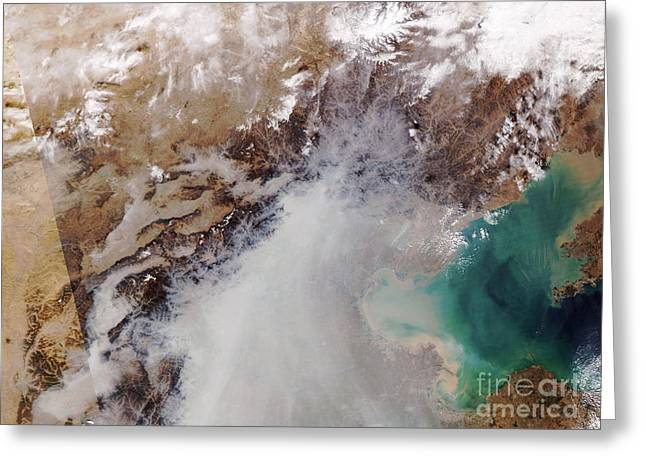 Temperature Inversion Greeting Cards - Air Pollution Over China Greeting Card by NASA / Science Source