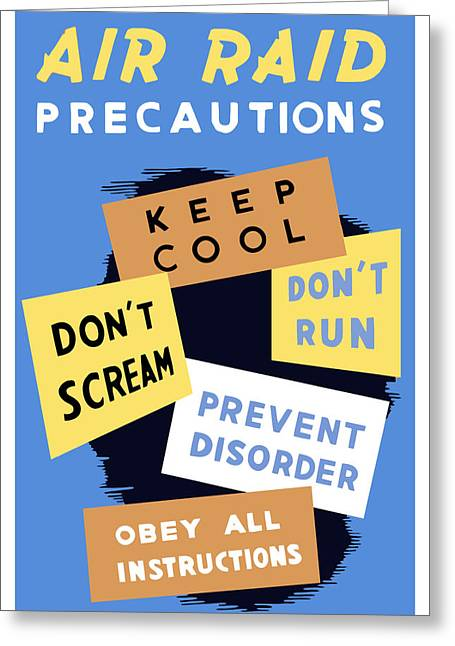 War Propaganda Greeting Cards - Air Raid Precautions Greeting Card by War Is Hell Store