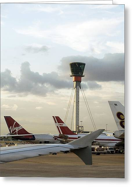 United Airlines Passenger Plane Greeting Cards - Air Traffic Control Tower, Uk Greeting Card by Carlos Dominguez
