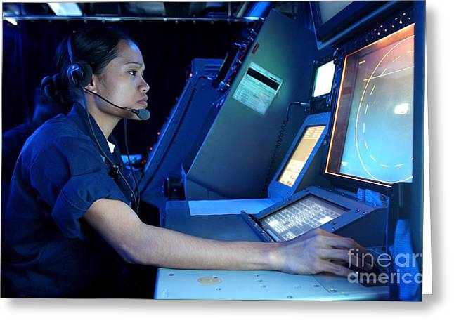 Command Center Greeting Cards - Air Traffic Controller Monitors Marine Greeting Card by Stocktrek Images