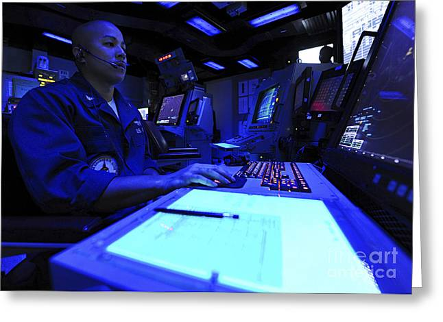 Command Center Greeting Cards - Air Traffic Controller Stands Watch Greeting Card by Stocktrek Images