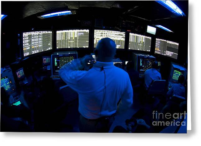 Command Center Greeting Cards - Air Traffic Controller Watches Greeting Card by Stocktrek Images