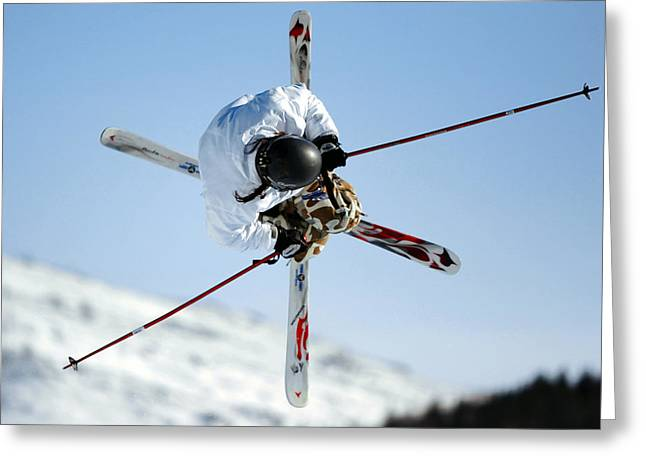 Ski Jumping Greeting Cards - Airborne Skier Greeting Card by Ria Novosti