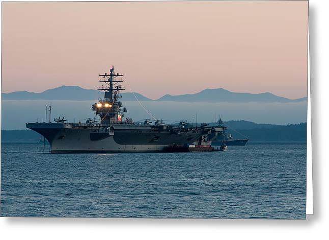 Carrier Greeting Cards - Aircraft Carrier at Sunset - USS Ronald Reagan Greeting Card by Matt Dobson