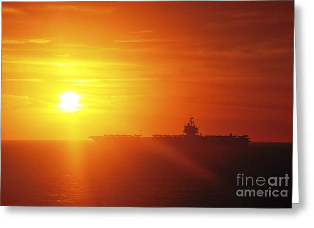 Enterprise Photographs Greeting Cards - Aircraft Carrier Uss Enterprise Greeting Card by Stocktrek Images