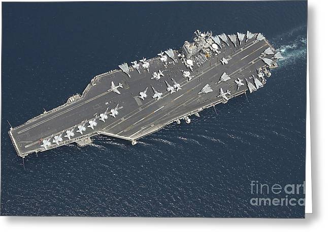 F-18 Greeting Cards - Aircraft Carrier Uss George Washington Greeting Card by Stocktrek Images