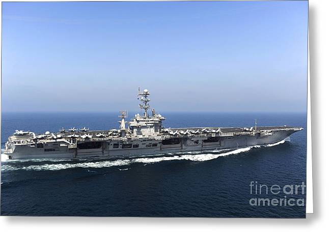 Operation Enduring Freedom Greeting Cards - Aircraft Carrier Uss John C. Stennis Greeting Card by Stocktrek Images